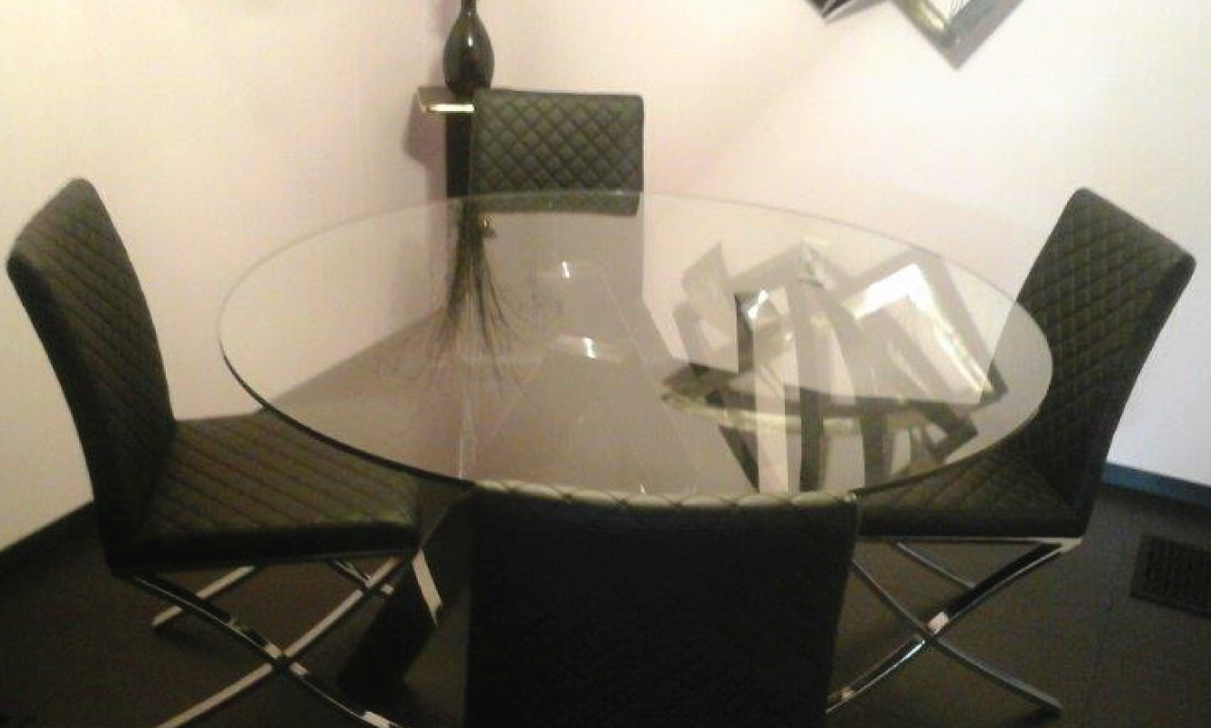 Designer Glass Top Table And Chair Delivered By Our White Leather Couch  Delivered By Our Nationwide